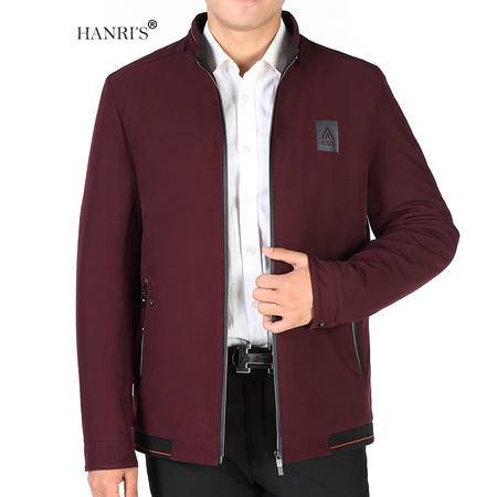 HANRI'S/瀚瑞冬季立领保暖拉链外套 中老年加大爸爸装 夹棉加厚男夹克WXP1603
