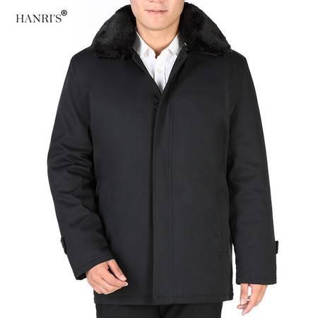 瀚瑞(hanris)全脱卸二件套男褂子 长毛领可卸上装 加大加肥中老年棉夹克 WXP立领保罗