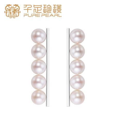 千足珍珠balance系列6-6.5mm圆润亮泽淡水珍珠耳环耳钉潮品