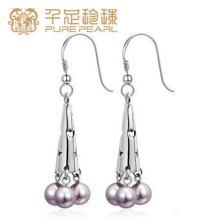 千足珍珠 麗塔 近圆强光5.5-6mm淡水珍珠银耳钉耳饰