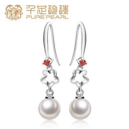 千足珠宝磬语正圆光洁强亮7.5-8mm淡水珍珠银耳钩耳饰送礼物