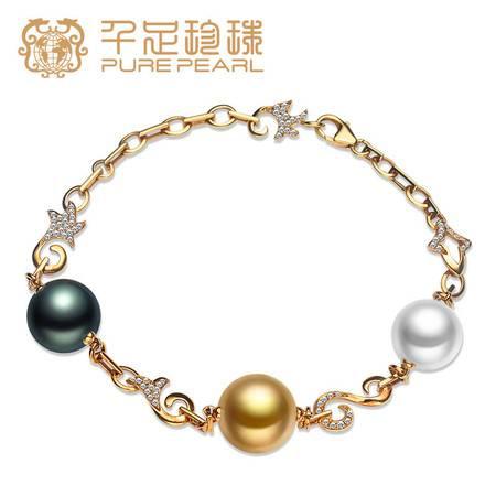 千足珠宝 沁雅 正圆光洁11-11.5mm海水珍珠手链