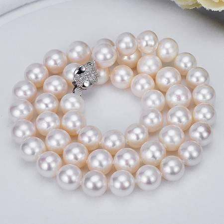 千足珠宝 婉如圆强光微瑕8-8.5mm珍珠项链无核淡水送妈妈