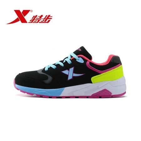 特步官方正品秋季新款时尚女款拼接撞色跑步鞋舒适轻便运动鞋984118119528