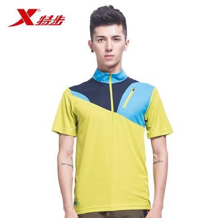 特步男子短袖衬衫 简约阳光立领上衣985229Z99155