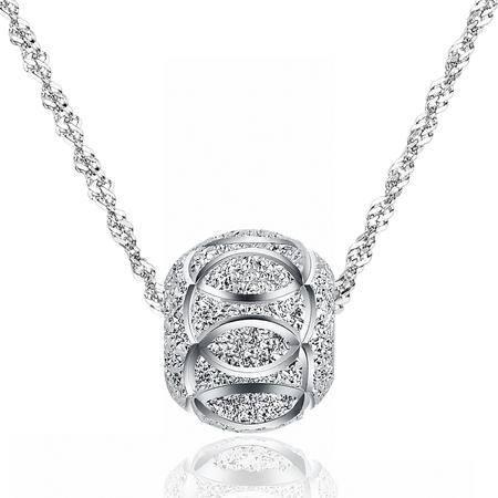 ANNYMORE艾琳玫925银镀白金防过敏项链「转运珠」