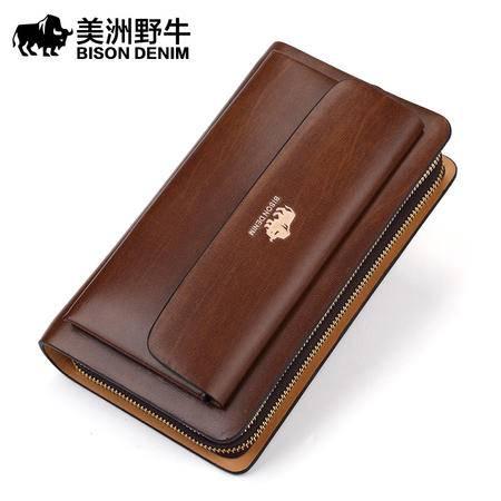 美洲野牛正品牛皮双拉链男手包商务休闲男士手拿包手抓包 手机包