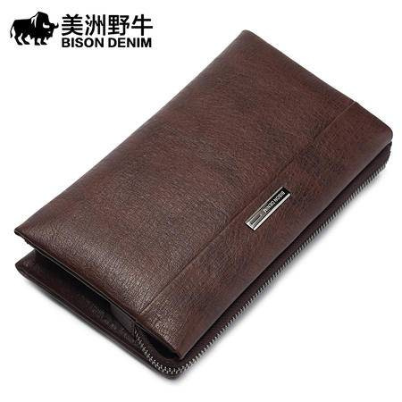 美洲野牛男士手包真皮软皮 大容量手拿包男包商务 头层牛皮手抓包