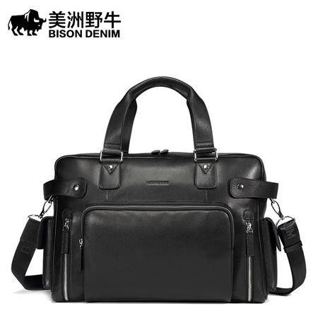 美洲野牛真皮男包手提包男单肩包斜挎包大容量旅行包旅行袋电脑包