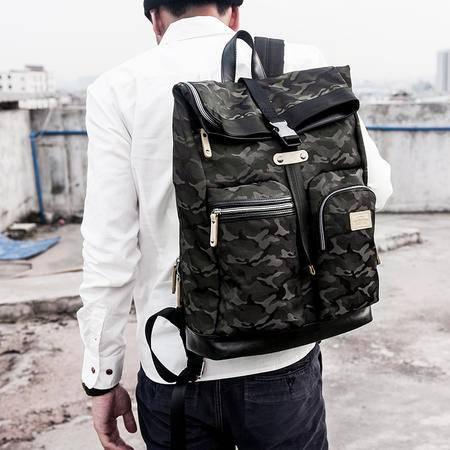 佑一良品韩版双肩包男女背包旅行包学生书包迷彩潮休闲