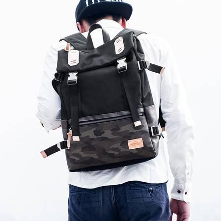 佑一良品HMF系列潮流双肩包男女迷彩拼接背包 韩版休闲旅行包书包