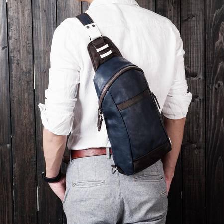 佑一良品新款胸包男背包休闲男包单肩包韩版潮流男士斜挎包PU皮包