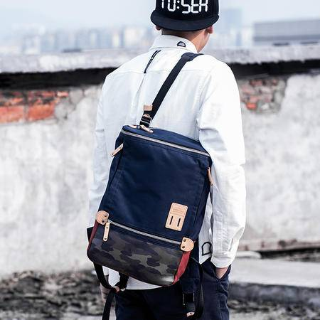 佑一良品HMF系列潮流双肩包单肩包两用 男女学生书包电脑背包休闲