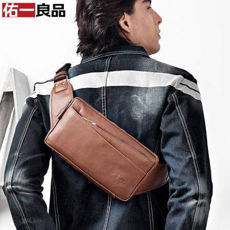 佑一良品裸边牛皮男腰包 原创韩版潮男士背包前胸包 休闲多用包