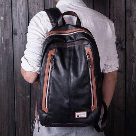 佑一良品休闲时尚双肩背包旅行包韩版新款电脑包高中学生PU书包潮