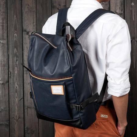 佑一良品休闲双肩包男女韩版潮学生书包PU皮旅行包男士背包电脑包