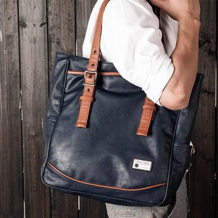 佑一良品男士单肩包休闲挎包男包韩版潮手提包背包商务电脑袋竖款