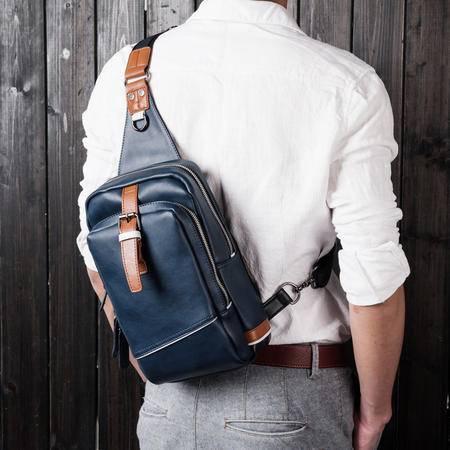 佑一良品牛皮男包胸包真皮小背包男士休闲包潮韩版单肩包斜跨包包