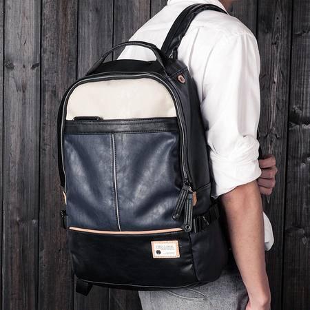 佑一良品男士背包休闲双肩包男女撞色旅行电脑包学生书包韩版潮包