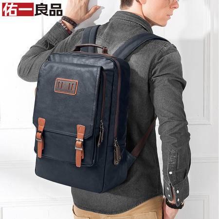 佑一良品新款韩版潮双肩包男士背包学院风书包英伦电脑包休闲男包