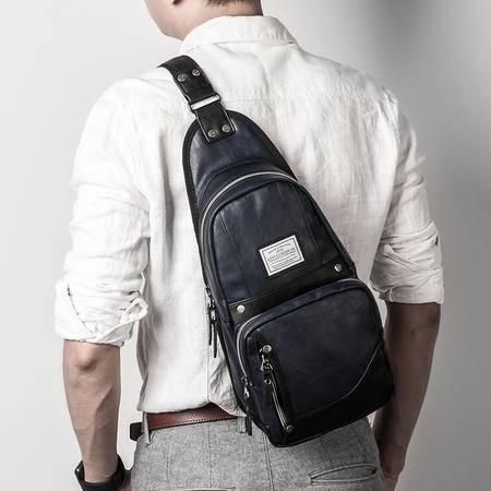 佑一良品单肩胸包男斜跨包 休闲运动皮斜挎背包