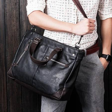 佑一良品男士商务单肩包韩版皮休闲包包手提斜挎包欧美电脑包背包