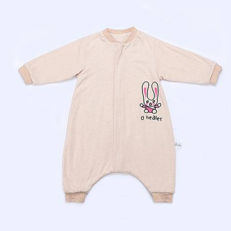 海勒兔秋冬长袖中厚婴儿宝宝防踢被 儿童纯棉分腿式睡袋 M码