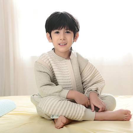 海勒兔 有机彩棉保暖防踢被 儿童宝宝防踢抱被分腿式睡袋空调被 L码