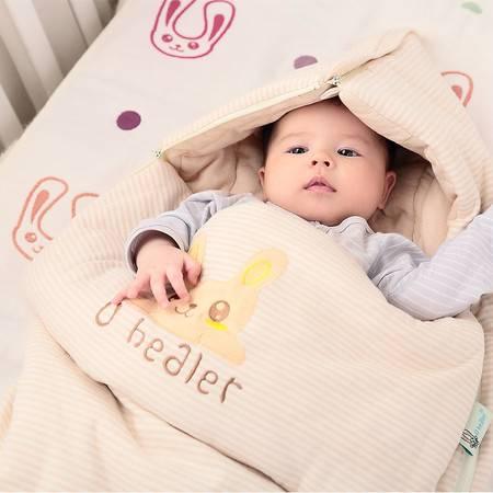 海勒兔 婴幼儿多用睡袋 纯棉儿童包被 透气保暖防踢被 M码