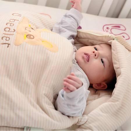 海勒兔 婴幼儿多用睡袋 纯棉儿童包被 透气保暖防踢被 L码