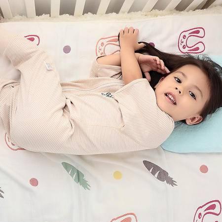 海勒兔 婴儿短袖分腿式防踢被  儿童轻薄空调睡袋 有机纯棉透气 L码