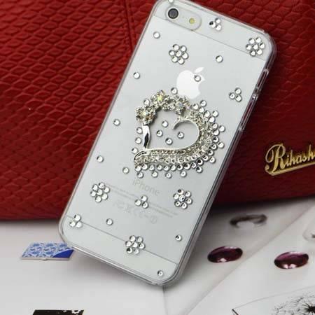 艾可优 I-CUE  IP47 心形金  iphone4/5 镶钻手机壳