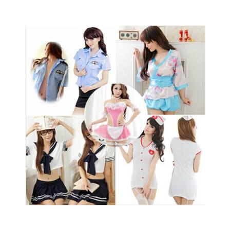 夏泽诺 性感情趣制服诱惑女学生女警女佣护士和服套装(5款套装)