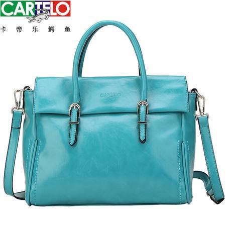 卡帝乐鳄鱼女包 韩版女士单肩手提包 正品 多功能 时尚蓝色女包包【邮乐卡】