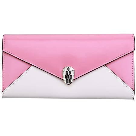 新款卡帝乐鳄鱼女包 小清新 女士钱包 牛皮正品 长款粉色女士手包(邮乐卡)