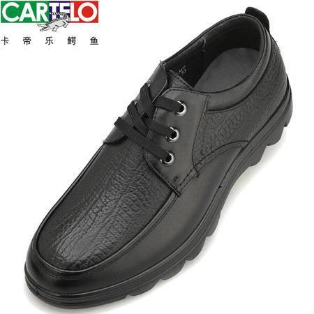 卡帝乐鳄鱼皮鞋真皮男士皮鞋时尚舒适正品男鞋牛皮系带商务休闲鞋