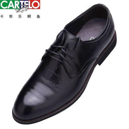 卡帝乐鳄鱼皮鞋男士皮鞋真皮男鞋头层牛皮舒适休闲鞋正品系带皮鞋