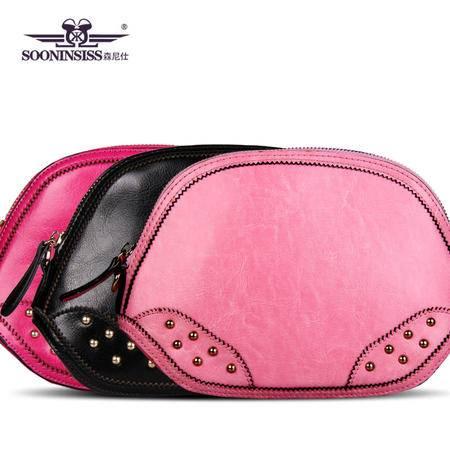 新款牛皮女包淑女晚宴包包真皮斜跨包红色黑色贝壳包手拿包