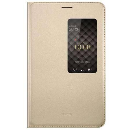 华为(HUAWEI) X2原装皮套 荣耀x2 开窗智能皮套 支架保护套 手机壳 X2原装保护壳 金色
