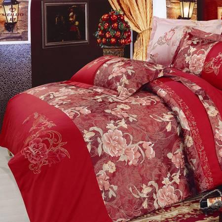 名人之家床上用品提花加绣花四件套规格2.0米床