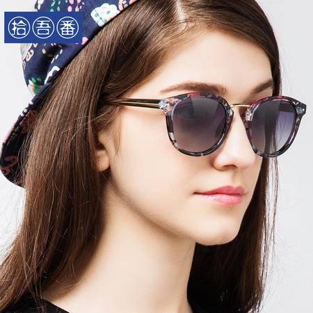 拾吾番圆脸太阳镜女款潮新款偏光彩膜墨镜女明星复古反光眼镜