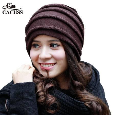 CACUSS羊毛毛线帽 男款双面戴冬帽子女士帽子冬天韩版潮针织帽
