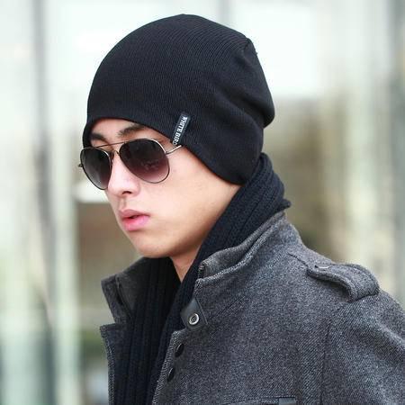 男士毛线帽针织帽冬季保暖帽子韩版潮流风女士套头帽纯色护耳