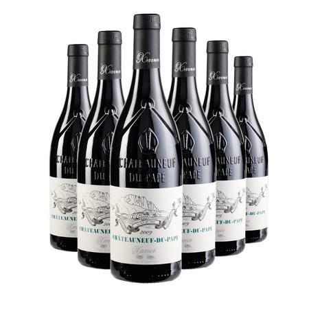 09年法国泽维尔世家教皇新堡 原瓶进口干红葡萄酒 法定产区AOC/P 6支装