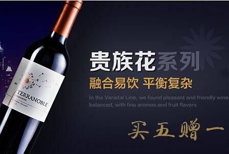 [ 买五送一] 智利泰瑞贵族酒庄贵族花系列佳美娜干红葡萄酒 原瓶进口 [买5支发6支]送酒刀