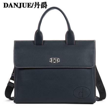 正品丹爵 牛皮 时尚商务型 手提单肩包 男士皮包 休闲男包 潮包D8003-5