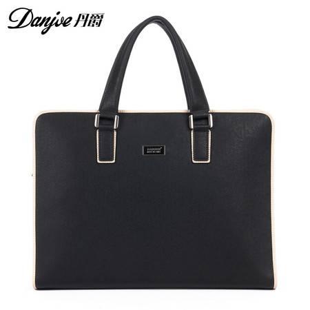 新款正品丹爵牛皮撞色时尚横版定型男士商务手提包休闲皮包潮男包D8837-1