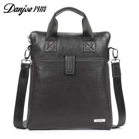 丹爵新款头层牛皮商务手提包单肩包真皮男士休闲男士皮包包D8911-2灰