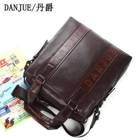 丹爵 专柜 新款 头层牛皮 手提包 单肩包 真皮男包 电脑包 包D90023-3
