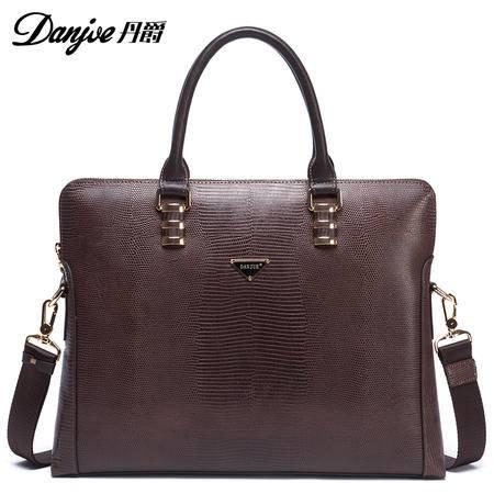 2016新款正品丹爵牛皮横款商务手提包公文包单肩斜挎包男士皮包D8830-1